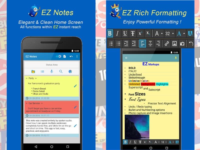ez notes screen