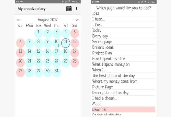 my creative diary app