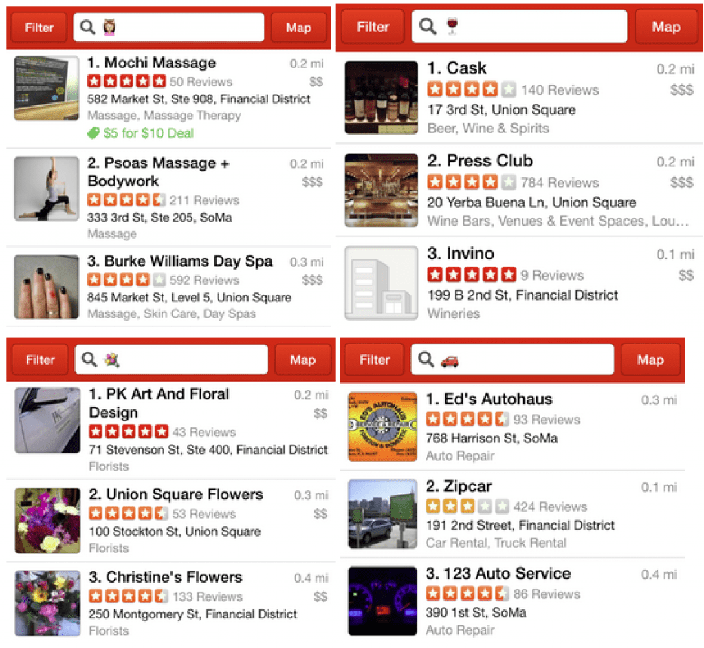 Yelp restaurant finder app