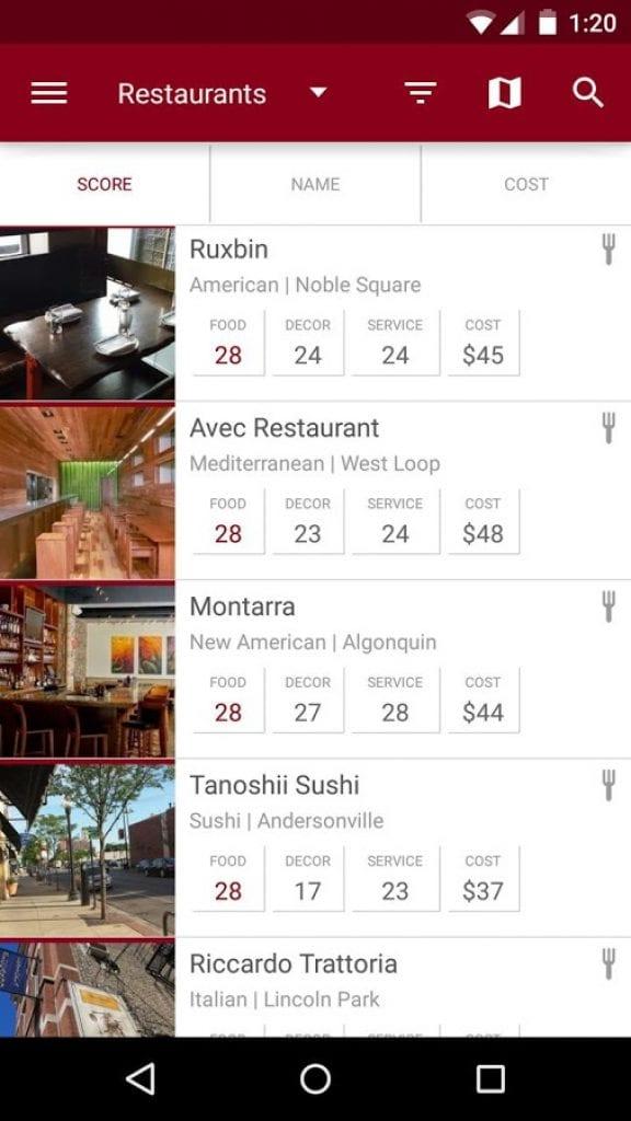 zagat restaurant finder app