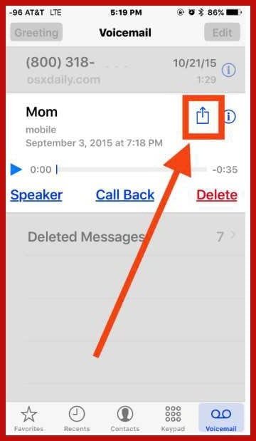 save voicemail on iphone