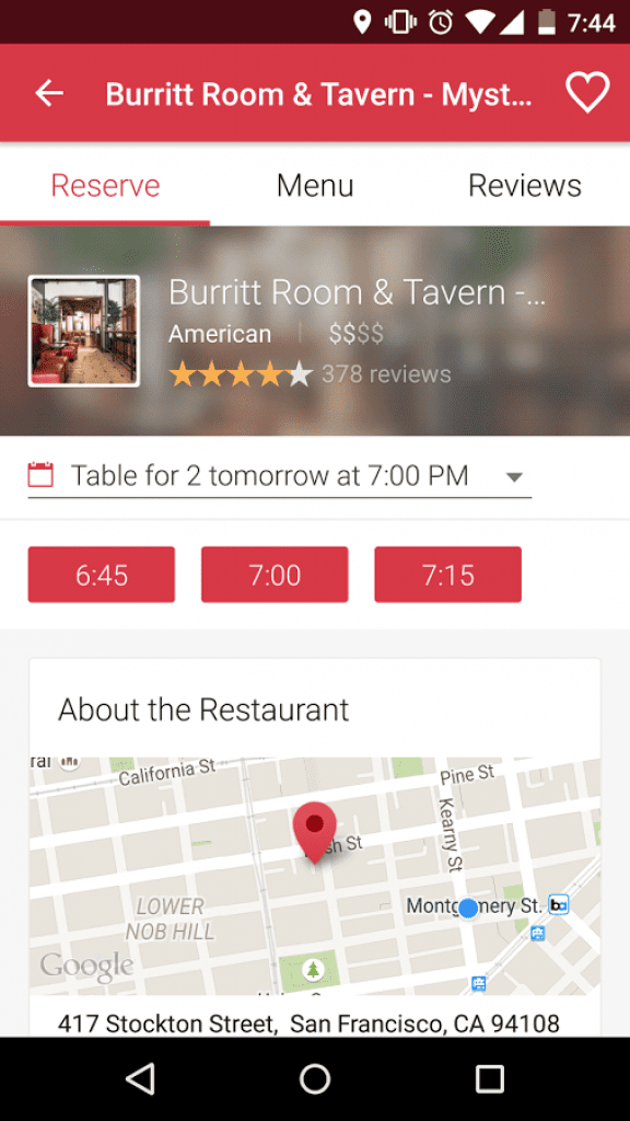 opentable app screenshot