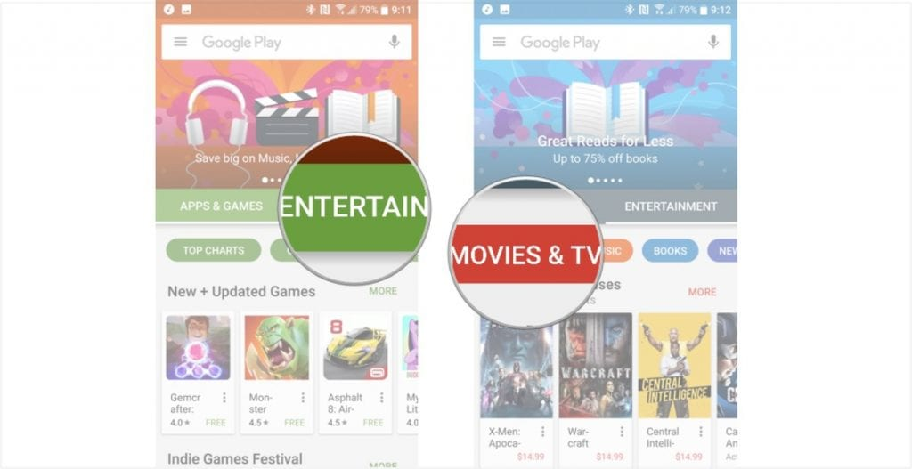 how to browse movies Google play