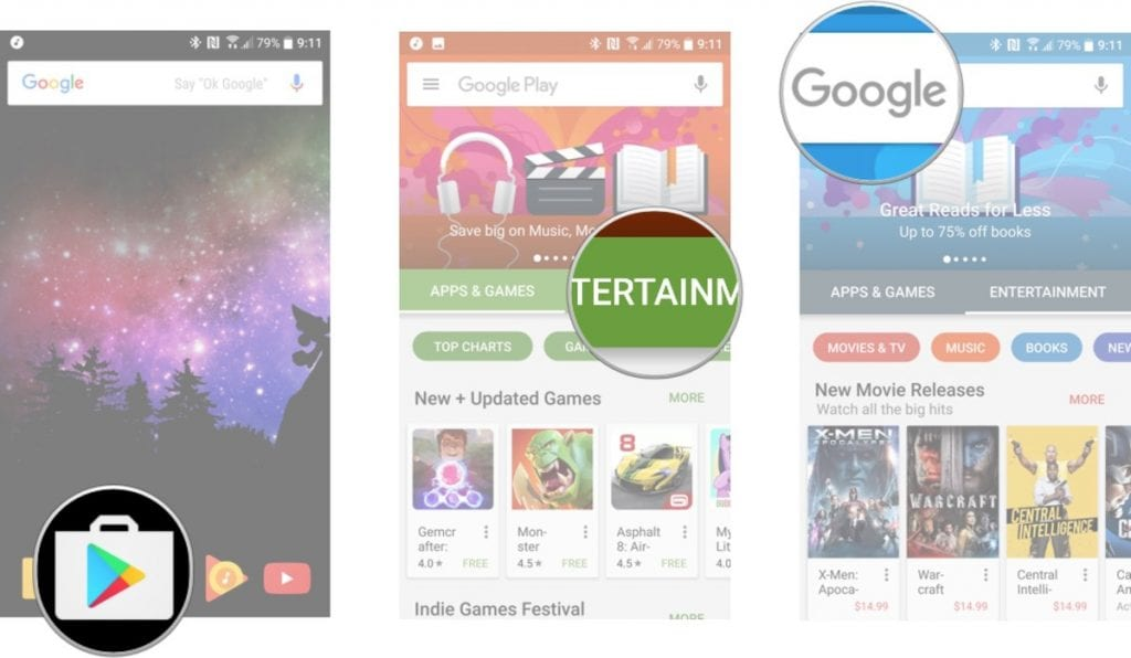 search for movies on Google Play