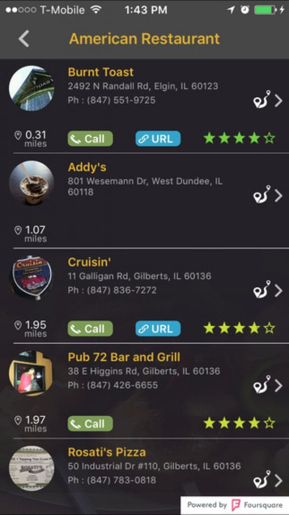 Restaurant Finder app for Iphone