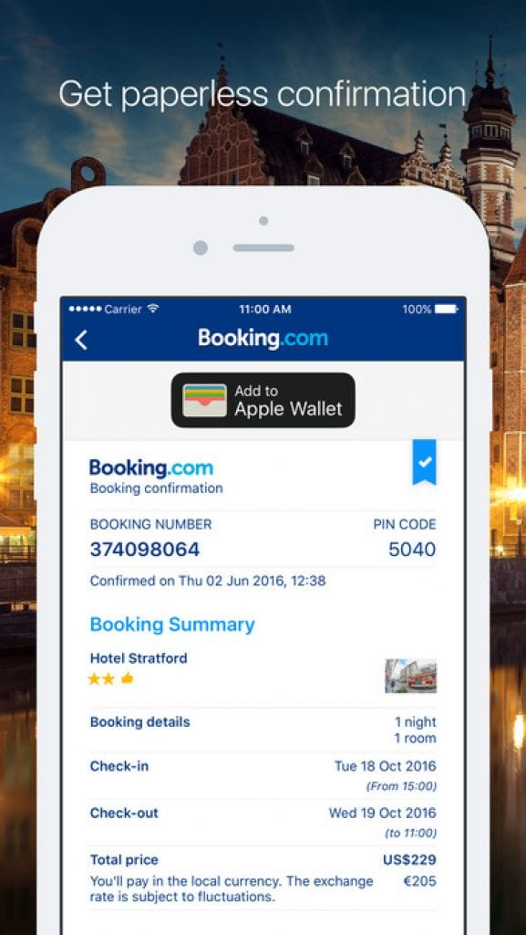 Booking.com travel app