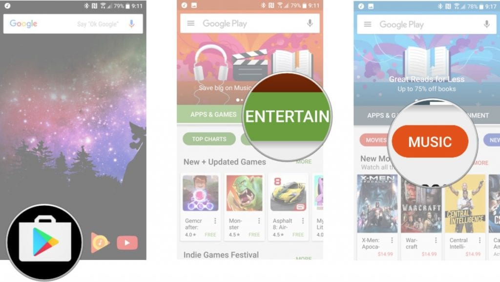 how to search for music Google Play