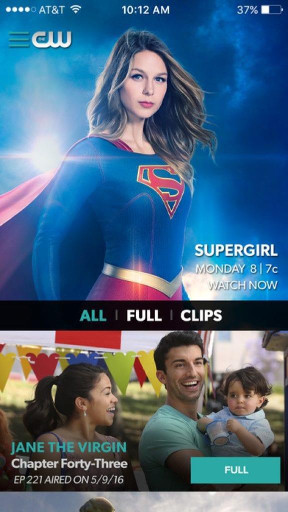 CW watching tv show app