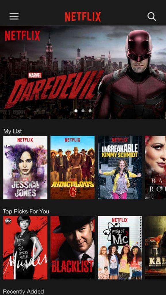 Netflix app watching TV shows
