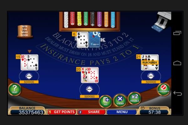 blackjack21 free casino screenshot