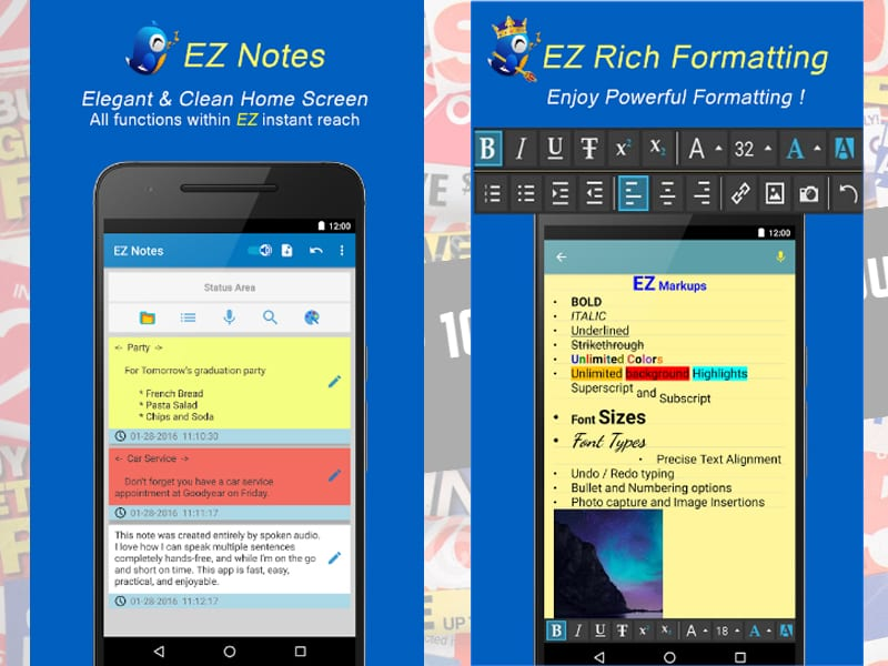 ez notes screen