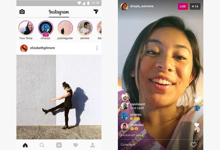 instagram app screen