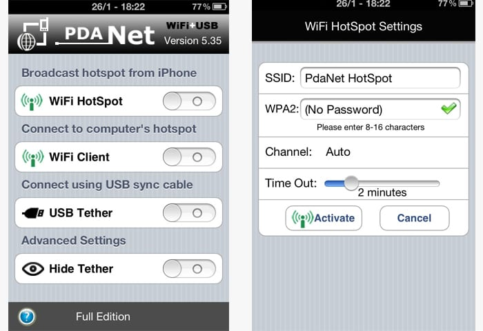 pdanet iphone app