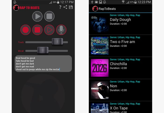 rap to beats android app