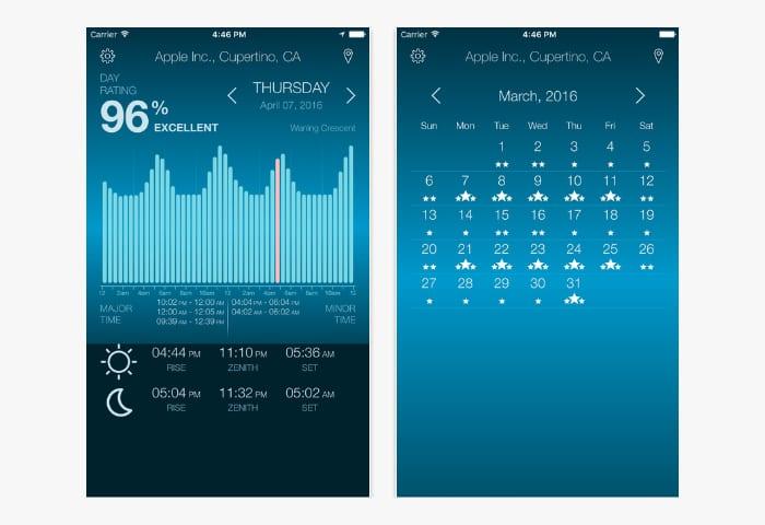 solunar time app screen