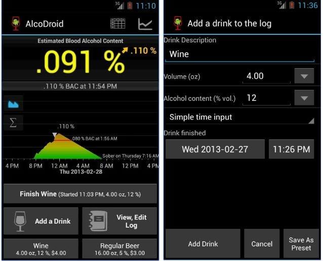 AlcoDroid Alcohol Tracker app
