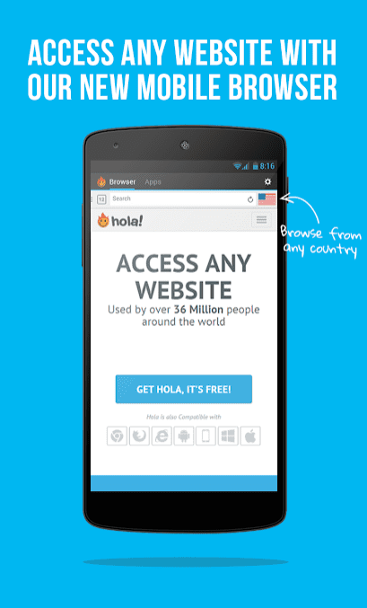 Hola Free VPN app