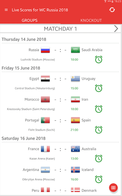 Live Scores for World Cup Russia 2018 1