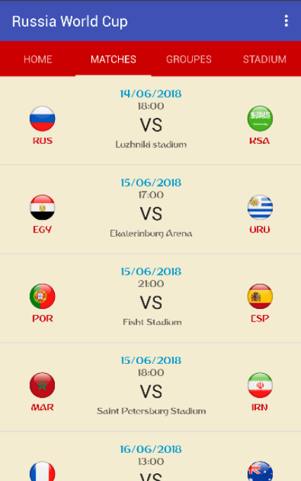 Russia World Cup 2018 app