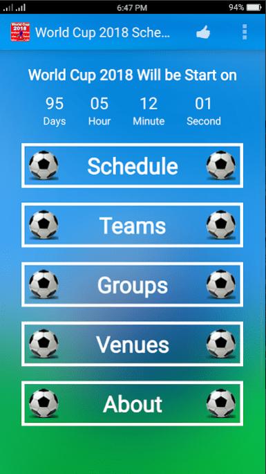 World Cup 2018 Schedule app