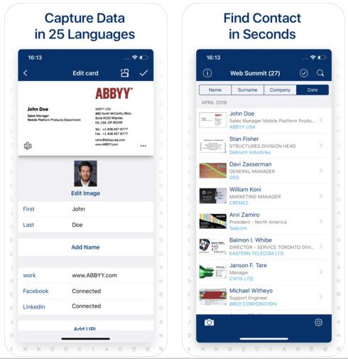 abbyy business card reader screen