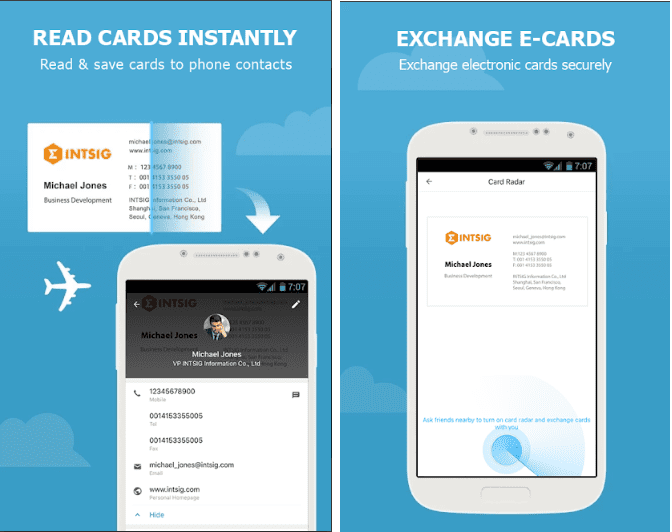 11 best business card scanner apps for android ios free apps for camcard screen reheart Images