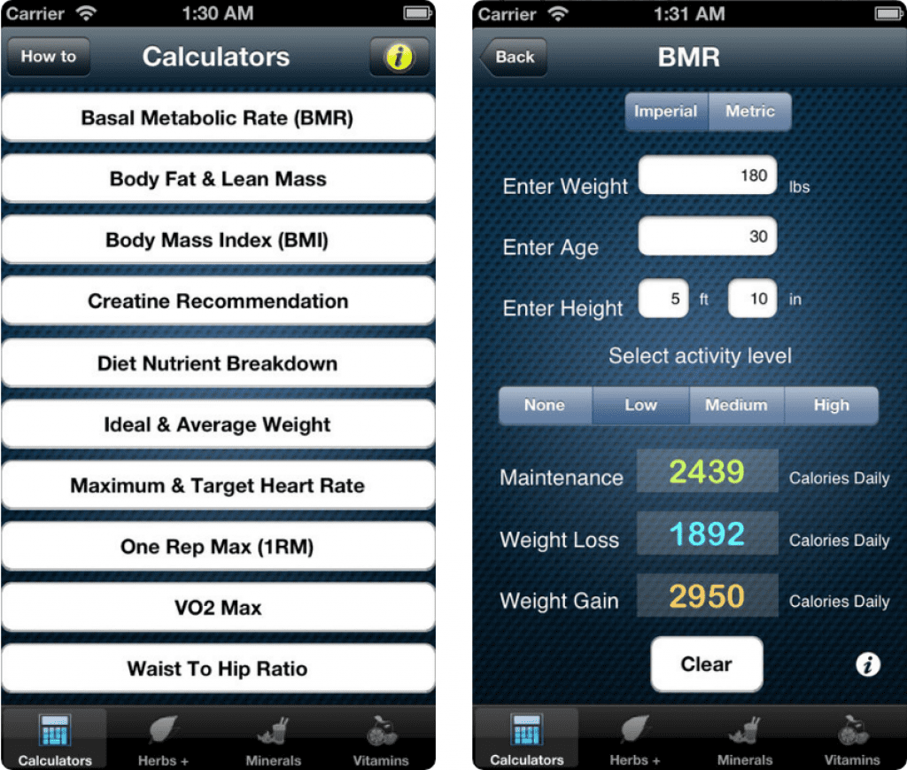 FitCal - Fitness Calculator screen