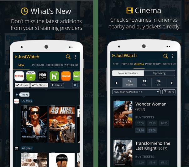 JustWatch screen