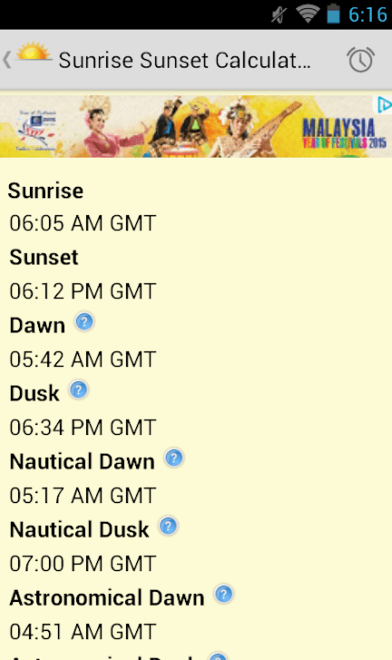 Sunrise Sunset Calculator app