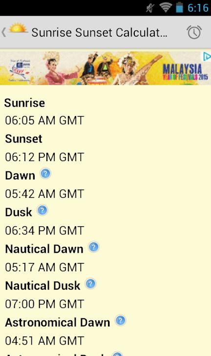 Sunrise Sunset Calculator app