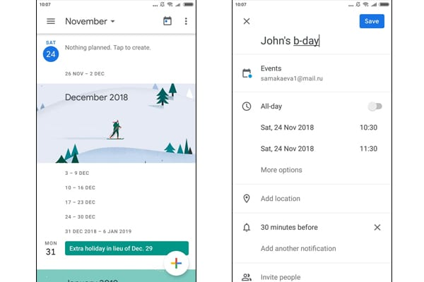 google calender app
