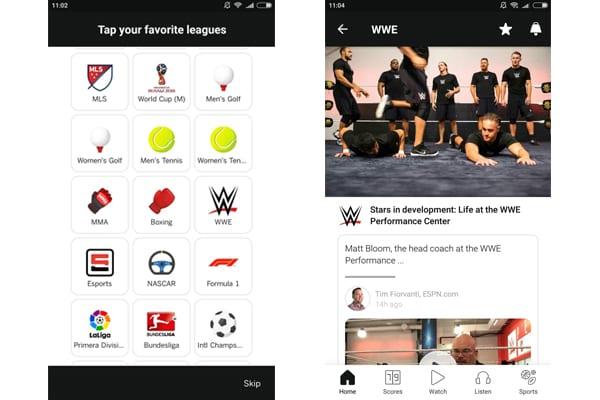espn app wrestling