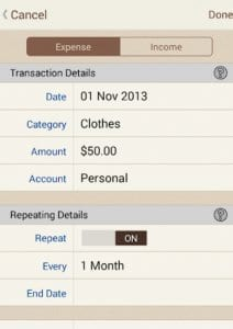 spendingtracker screen 1