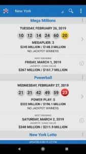 lotto results screen