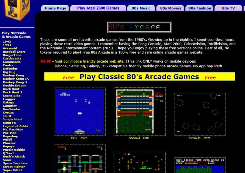 Free 80s arcade