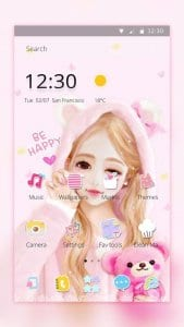 pink cartoon lovely girl theme1
