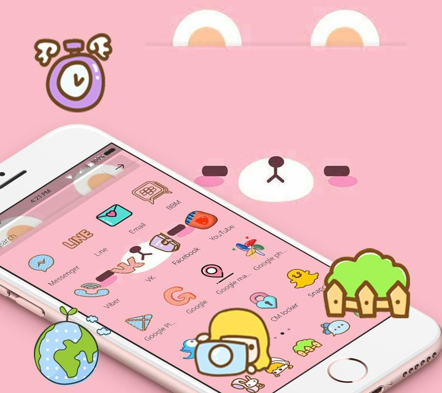 pink cute cartoon bear theme2