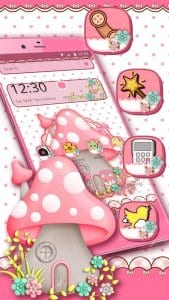 pink cute mushroom theme2