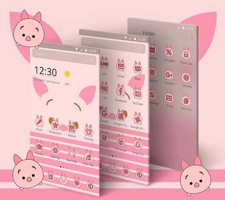 pink cute piggy theme1