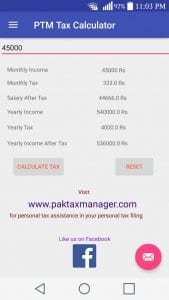 Pak Tax Manager Calculator
