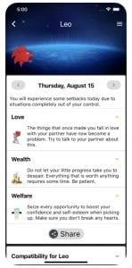 Daily Horoscope screen 2