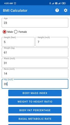 BMI,BMR and Fat % Calculator2