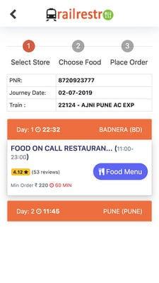 Railrestro - Order Food In Train1