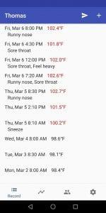 Body Temperature Recorder screen 2