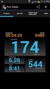 Cadence Running Tracker screen 1