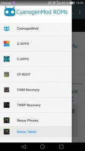 CyanogenMod ROMs screen 1