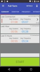 Full Term - Contraction Timer screen 1