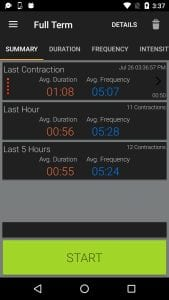 Full Term - Contraction Timer screen 2