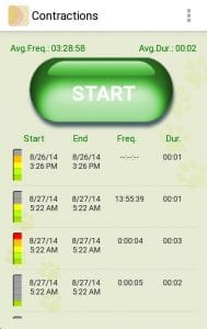 My Contractions Tracker screen 2
