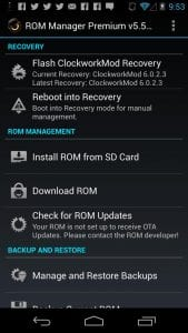 ROM Manager screen 1